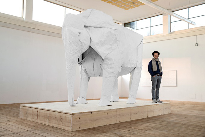 White-Elephant-A-LifeSize-Origami-Elephant-Folded-From-a-Single-Giant-Piece-of-1