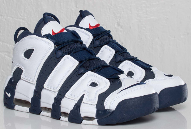 """This releases of the Nike Air More Uptempo """"Olympic"""" is a throwback to  Scottie Pippen and the Dream Team 2 that comes dressed in a patriotic mix  of Red 281e9f5d26ab"""