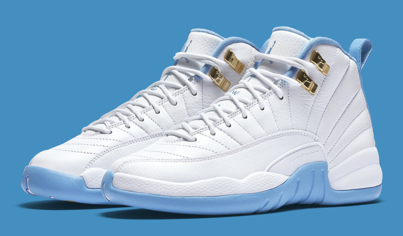more photos 6d4c5 222b1 image. This Air Jordan 12 is a gradeschool-only release (up to a size 9.5)  that comes dressed in a mixture of White, Metallic Gold and University Blue  ...